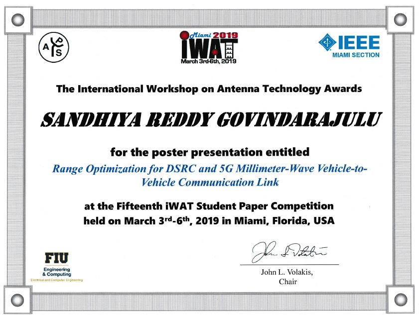 Sandhiya Govindarajulu receives Best Student Paper Award at